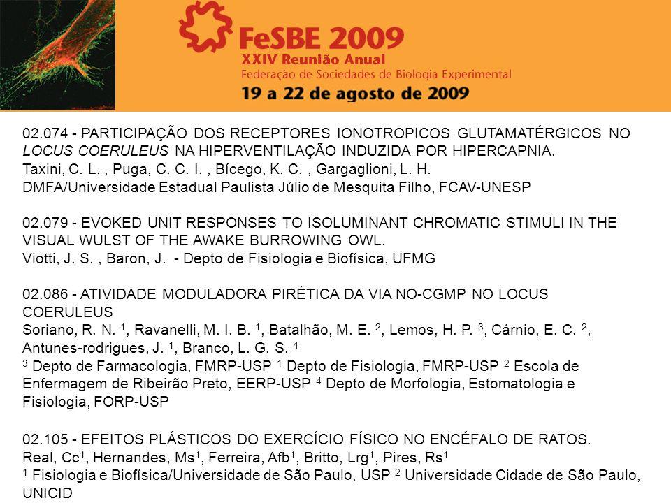 02.074 - PARTICIPAÇÃO DOS RECEPTORES IONOTROPICOS GLUTAMATÉRGICOS NO LOCUS COERULEUS NA HIPERVENTILAÇÃO INDUZIDA POR HIPERCAPNIA.