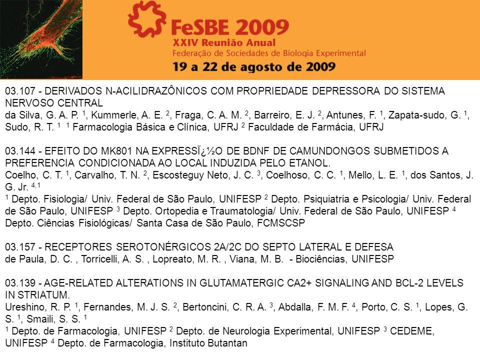 03.107 - DERIVADOS N-ACILIDRAZÔNICOS COM PROPRIEDADE DEPRESSORA DO SISTEMA NERVOSO CENTRAL