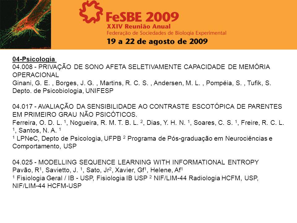 04-Psicologia 04.008 - PRIVAÇÃO DE SONO AFETA SELETIVAMENTE CAPACIDADE DE MEMÓRIA OPERACIONAL.