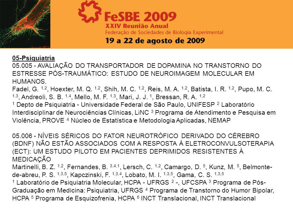 05-Psiquiatria05.005 - AVALIAÇÃO DO TRANSPORTADOR DE DOPAMINA NO TRANSTORNO DO ESTRESSE PÓS-TRAUMÁTICO: ESTUDO DE NEUROIMAGEM MOLECULAR EM HUMANOS.
