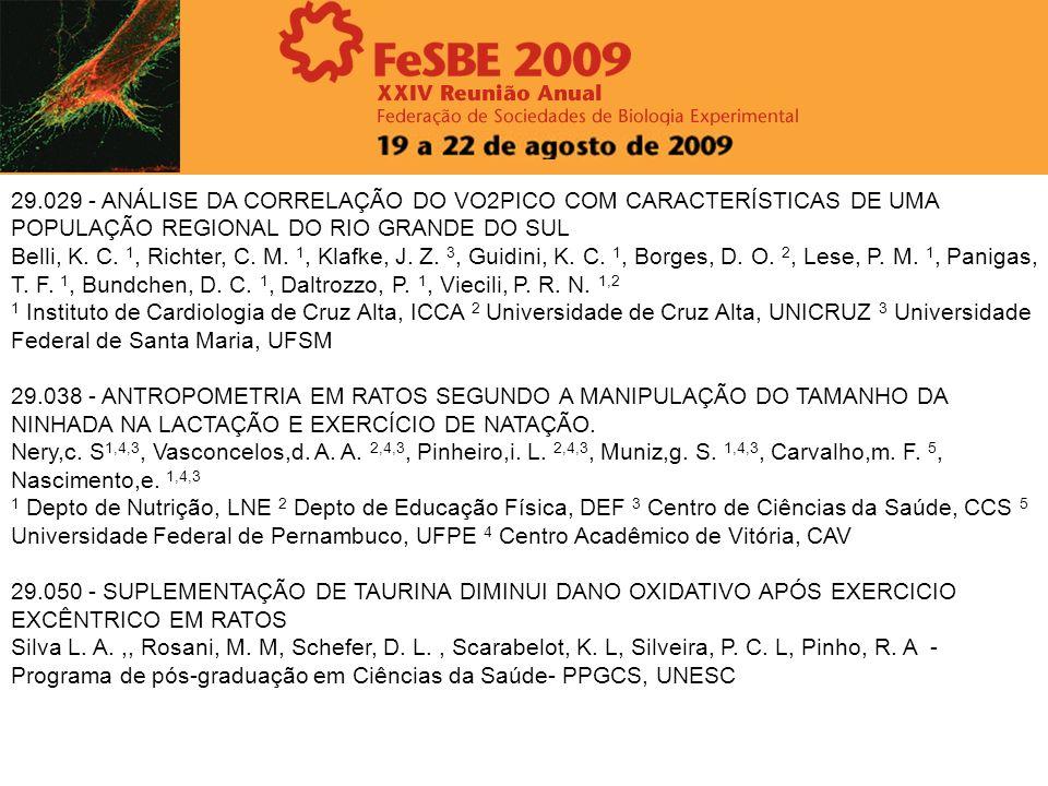 29.029 - ANÁLISE DA CORRELAÇÃO DO VO2PICO COM CARACTERÍSTICAS DE UMA POPULAÇÃO REGIONAL DO RIO GRANDE DO SUL