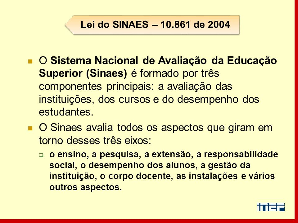 Lei do SINAES – 10.861 de 2004