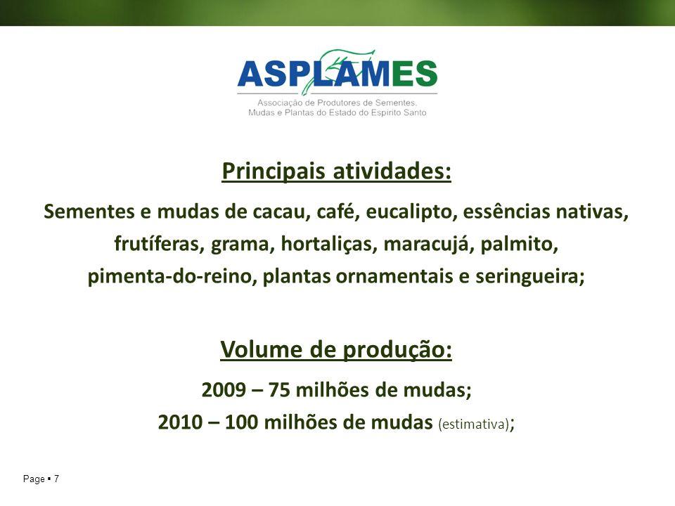 Principais atividades: Volume de produção:
