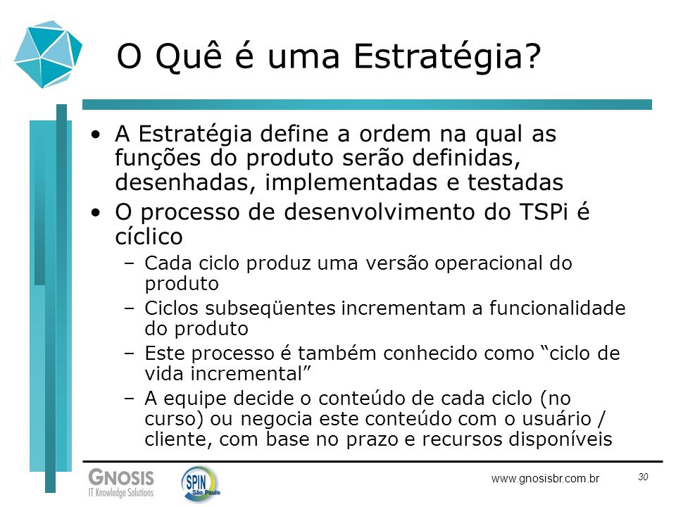 O Quê é uma Estratégia A Estratégia define a ordem na qual as funções do produto serão definidas, desenhadas, implementadas e testadas.