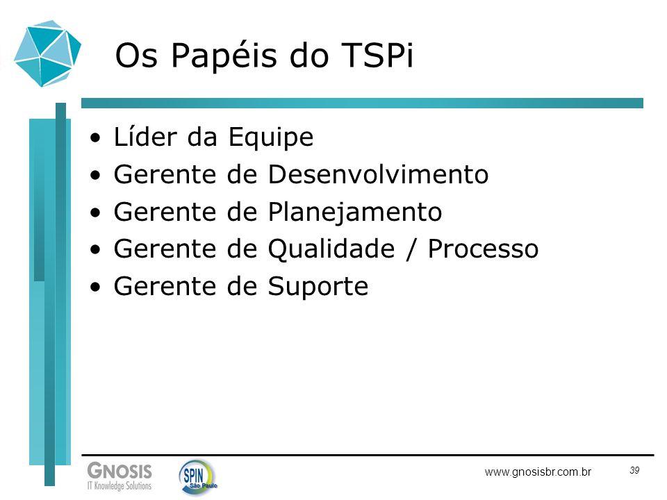 Os Papéis do TSPi Líder da Equipe Gerente de Desenvolvimento