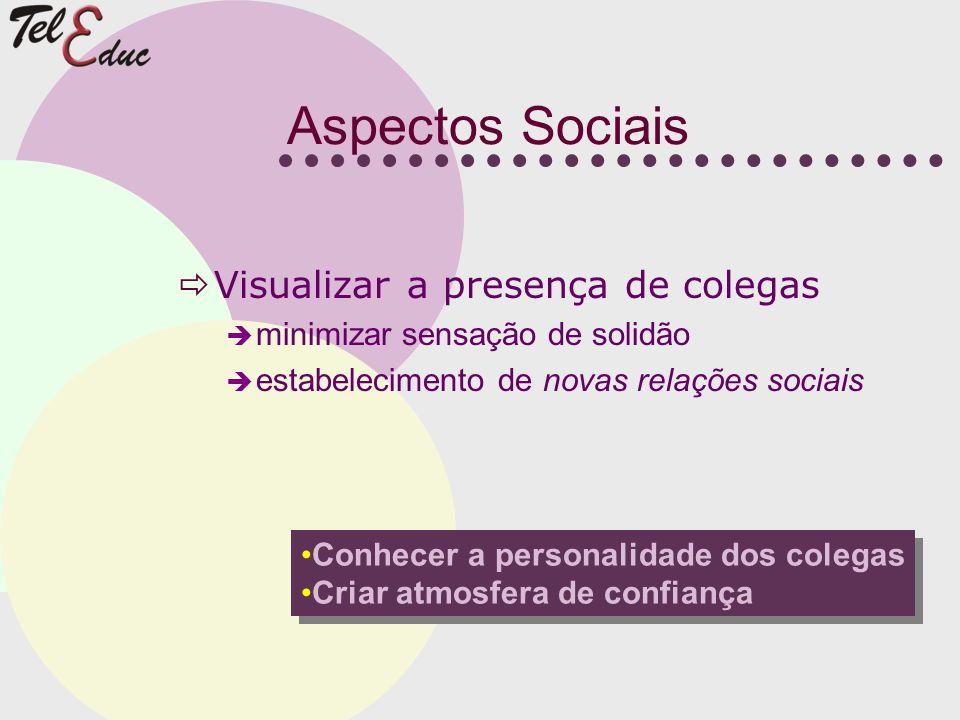 Aspectos Sociais Visualizar a presença de colegas