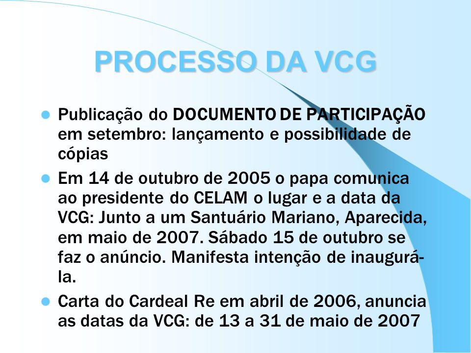 PROCESSO DA VCG Publicação do DOCUMENTO DE PARTICIPAÇÃO em setembro: lançamento e possibilidade de cópias.