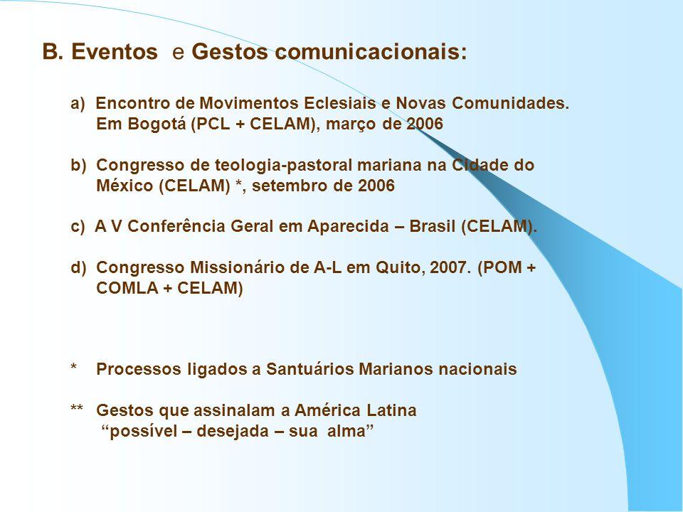 B. Eventos e Gestos comunicacionais: