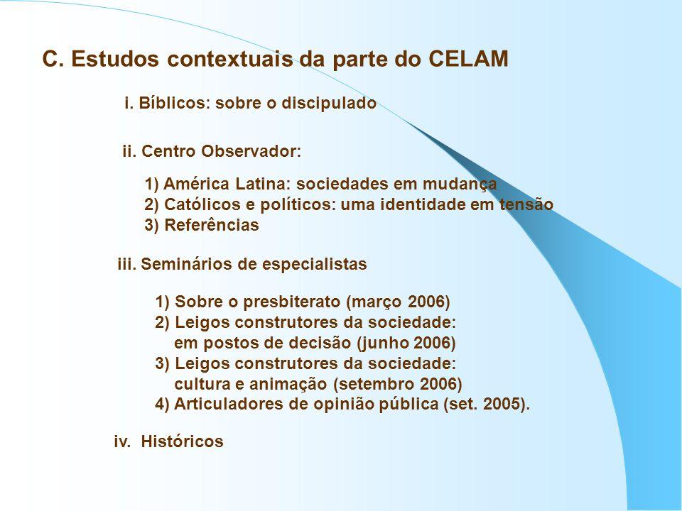 C. Estudos contextuais da parte do CELAM