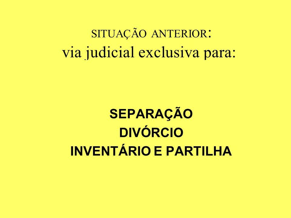 SITUAÇÃO ANTERIOR: via judicial exclusiva para: