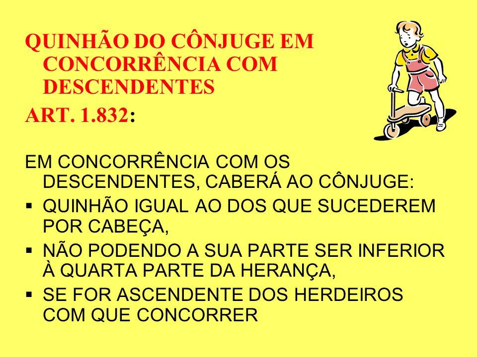 QUINHÃO DO CÔNJUGE EM CONCORRÊNCIA COM DESCENDENTES