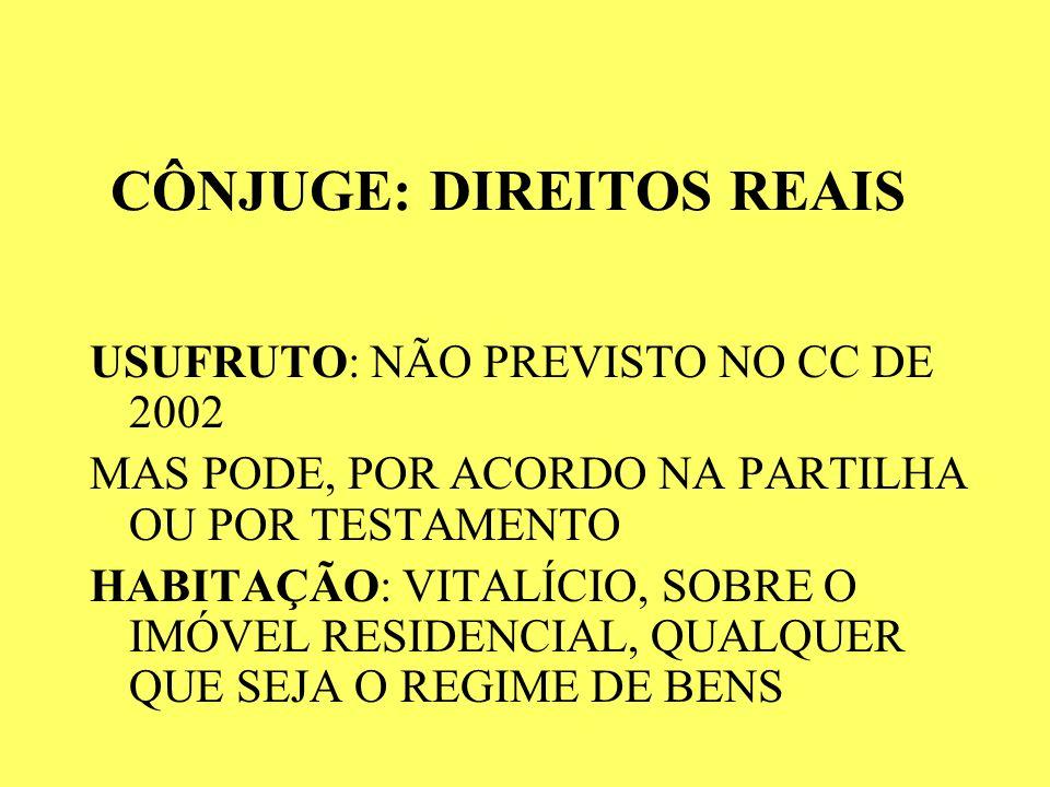 CÔNJUGE: DIREITOS REAIS