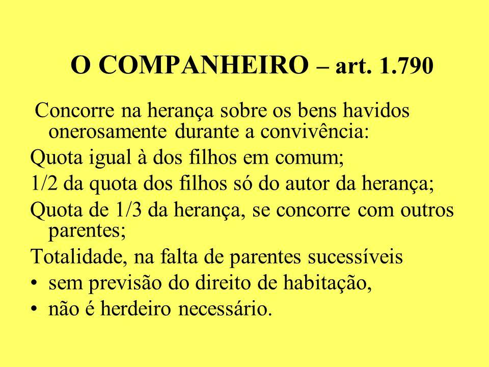 O COMPANHEIRO – art. 1.790 Quota igual à dos filhos em comum;