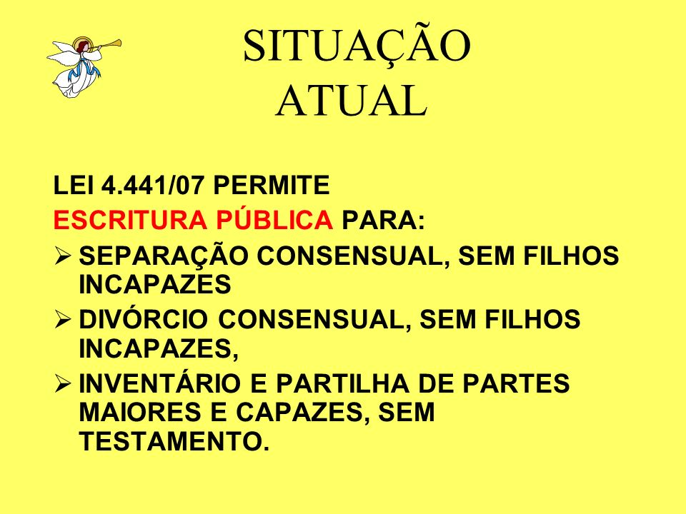 SITUAÇÃO ATUAL LEI 4.441/07 PERMITE ESCRITURA PÚBLICA PARA: