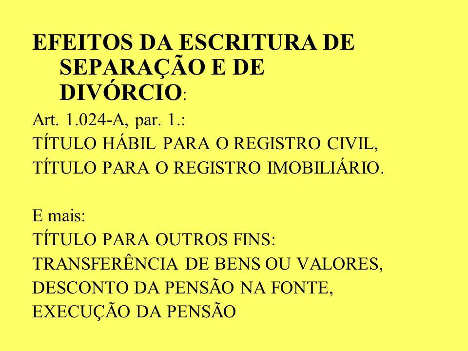 EFEITOS DA ESCRITURA DE SEPARAÇÃO E DE DIVÓRCIO:
