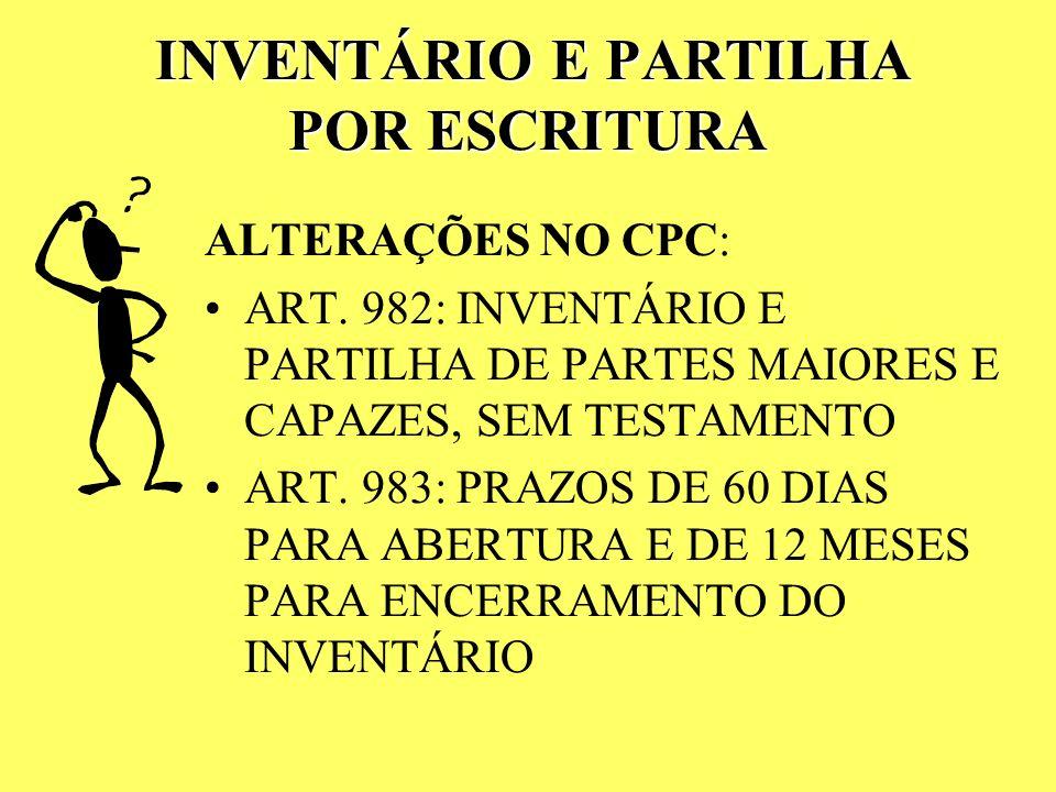 INVENTÁRIO E PARTILHA POR ESCRITURA