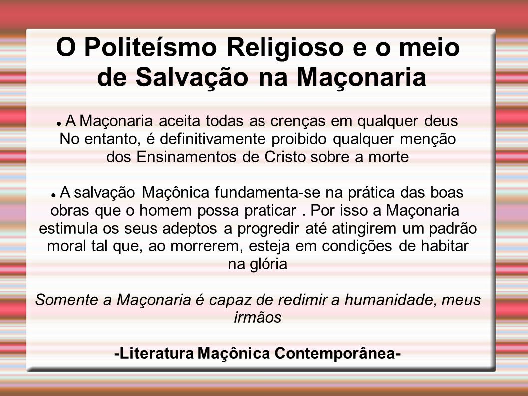 O Politeísmo Religioso e o meio de Salvação na Maçonaria