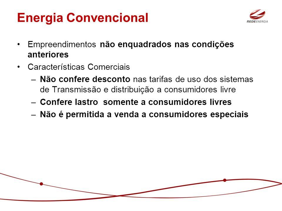 Energia Convencional Empreendimentos não enquadrados nas condições anteriores. Características Comerciais.