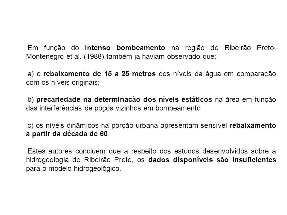 Em função do intenso bombeamento na região de Ribeirão Preto, Montenegro et al. (1988) também já haviam observado que: