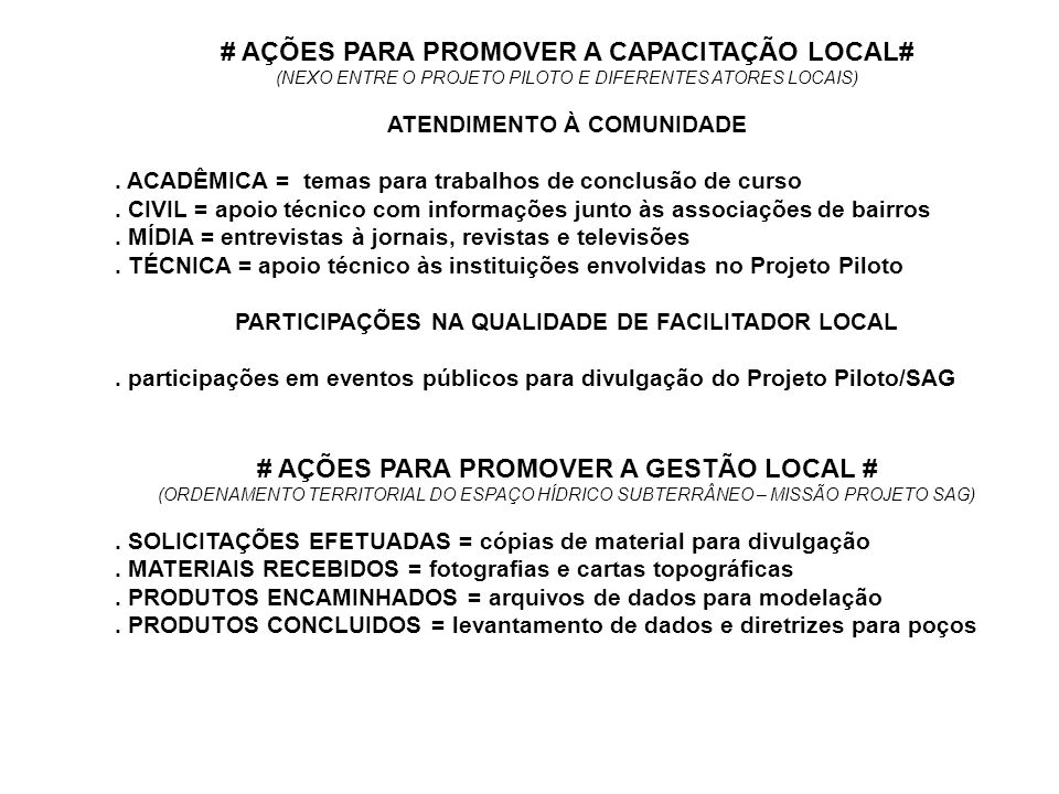# AÇÕES PARA PROMOVER A CAPACITAÇÃO LOCAL#