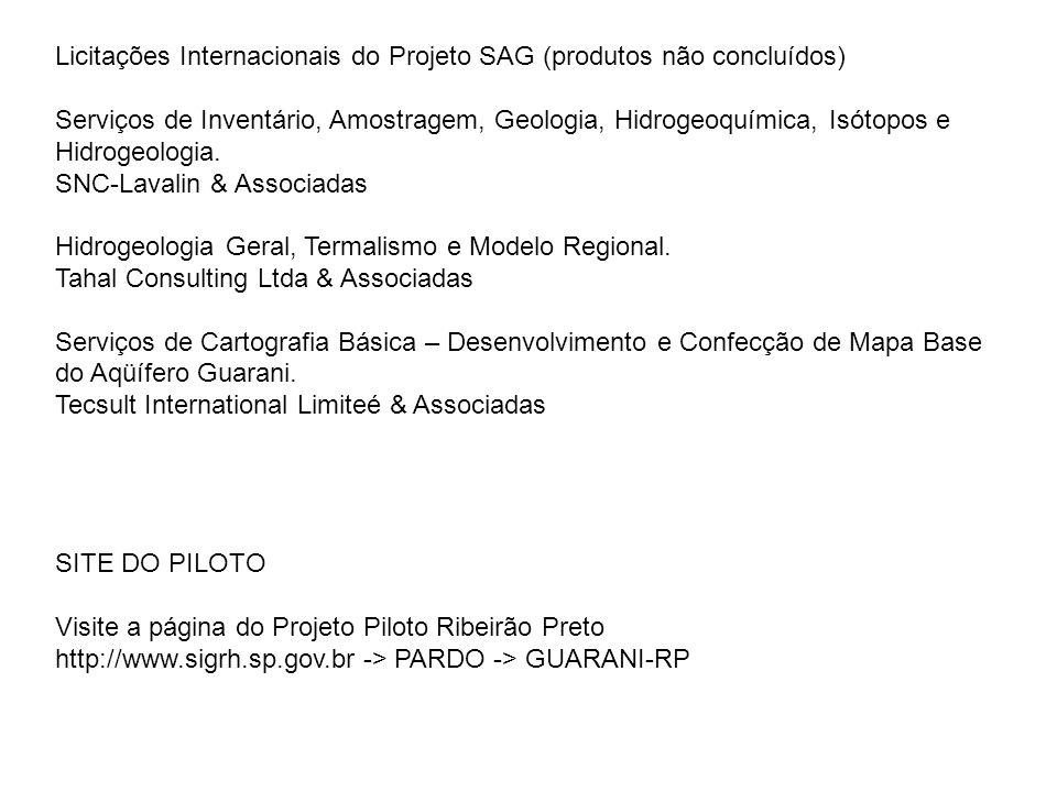 Licitações Internacionais do Projeto SAG (produtos não concluídos)