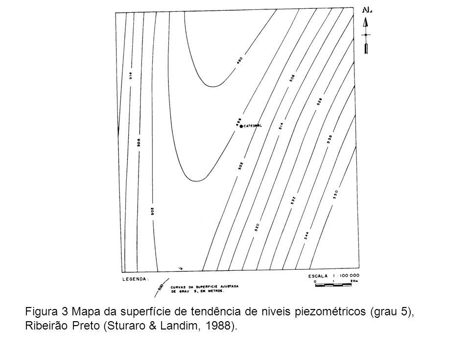 Figura 3 Mapa da superfície de tendência de niveis piezométricos (grau 5),
