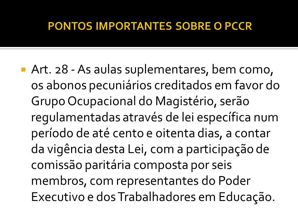 PONTOS IMPORTANTES SOBRE O PCCR