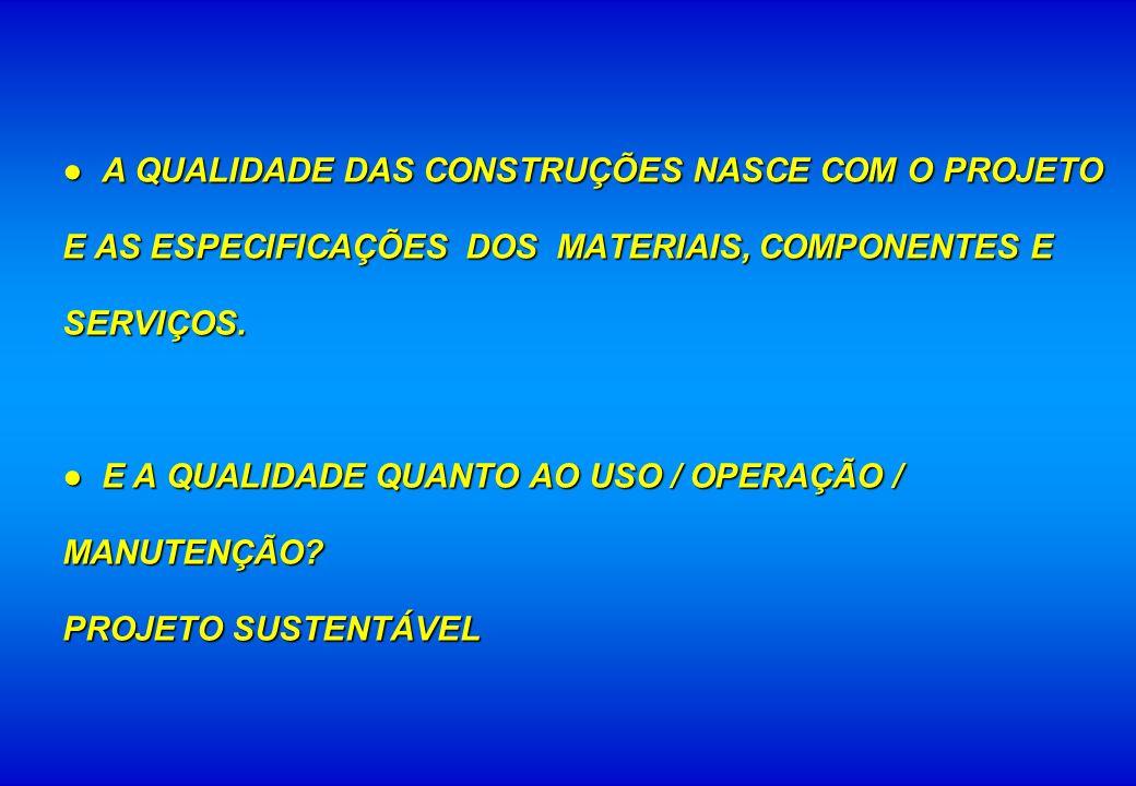 ● A QUALIDADE DAS CONSTRUÇÕES NASCE COM O PROJETO E AS ESPECIFICAÇÕES DOS MATERIAIS, COMPONENTES E SERVIÇOS.