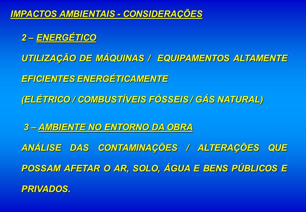 IMPACTOS AMBIENTAIS - CONSIDERAÇÕES