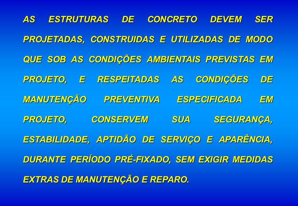AS ESTRUTURAS DE CONCRETO DEVEM SER PROJETADAS, CONSTRUIDAS E UTILIZADAS DE MODO QUE SOB AS CONDIÇÕES AMBIENTAIS PREVISTAS EM PROJETO, E RESPEITADAS AS CONDIÇÕES DE MANUTENÇÃO PREVENTIVA ESPECIFICADA EM PROJETO, CONSERVEM SUA SEGURANÇA, ESTABILIDADE, APTIDÃO DE SERVIÇO E APARÊNCIA, DURANTE PERÍODO PRÉ-FIXADO, SEM EXIGIR MEDIDAS EXTRAS DE MANUTENÇÃO E REPARO.