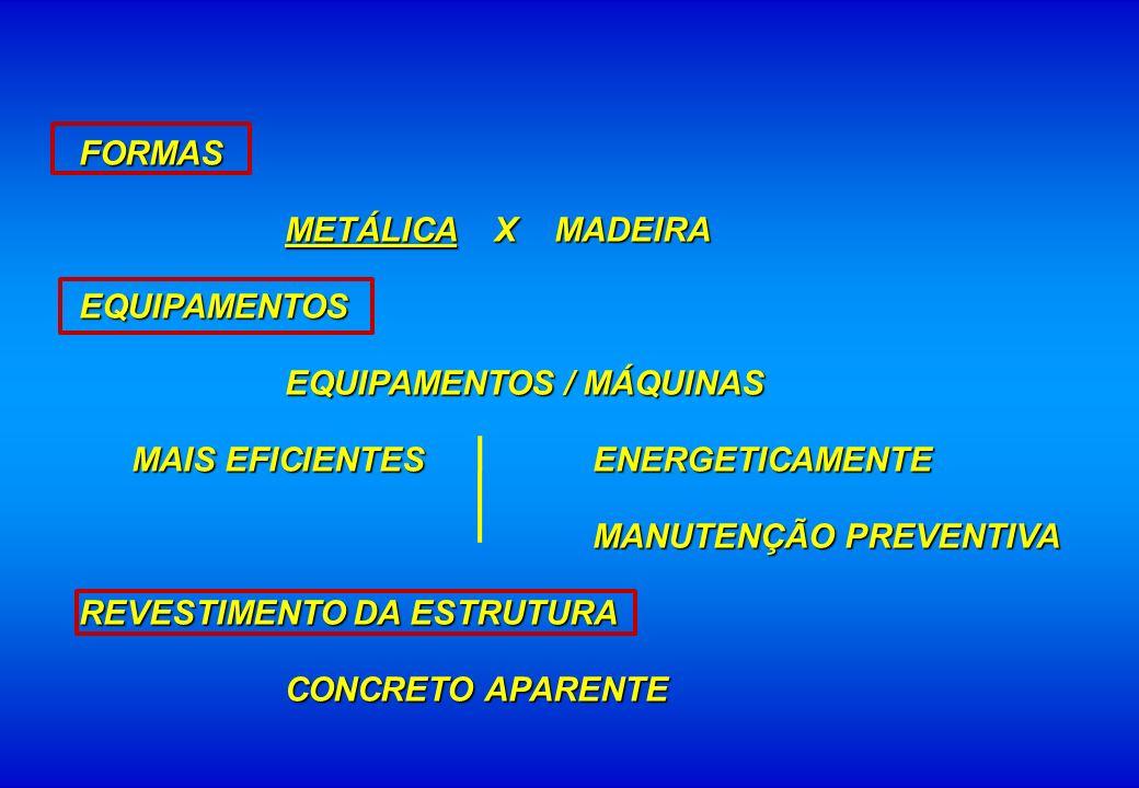 FORMAS METÁLICA X MADEIRA. EQUIPAMENTOS. EQUIPAMENTOS / MÁQUINAS. MAIS EFICIENTES ENERGETICAMENTE.