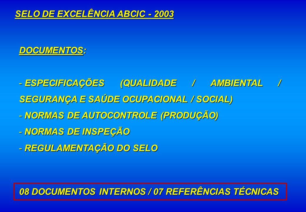 SELO DE EXCELÊNCIA ABCIC - 2003