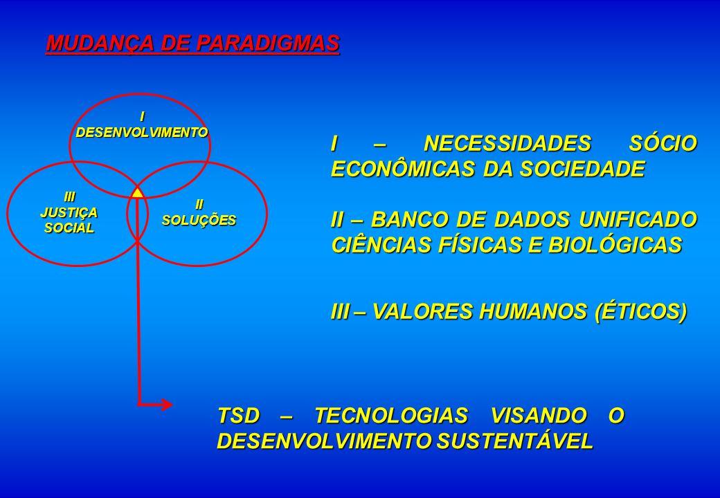 I – NECESSIDADES SÓCIO ECONÔMICAS DA SOCIEDADE