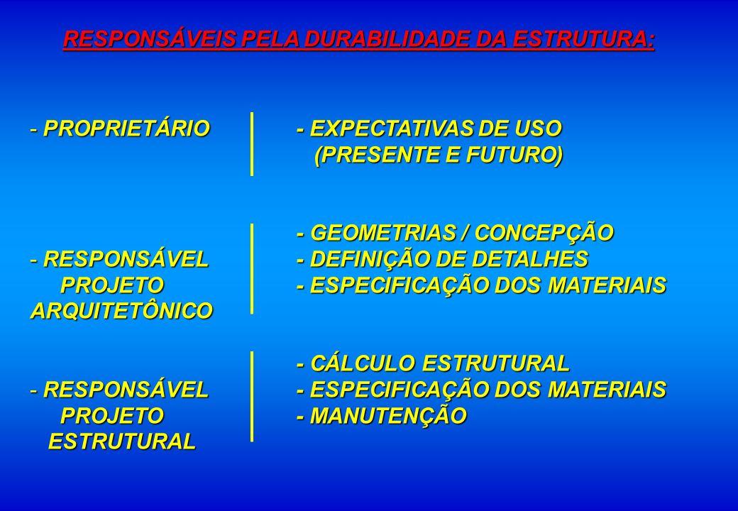 RESPONSÁVEIS PELA DURABILIDADE DA ESTRUTURA: