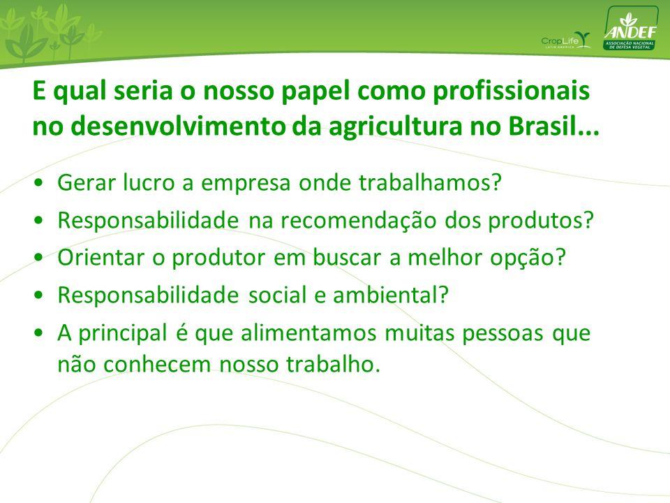 E qual seria o nosso papel como profissionais no desenvolvimento da agricultura no Brasil...