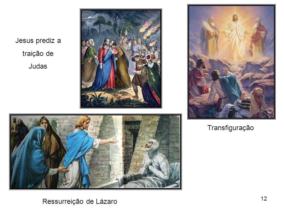 Jesus prediz a traição de Judas Transfiguração Ressurreição de Lázaro