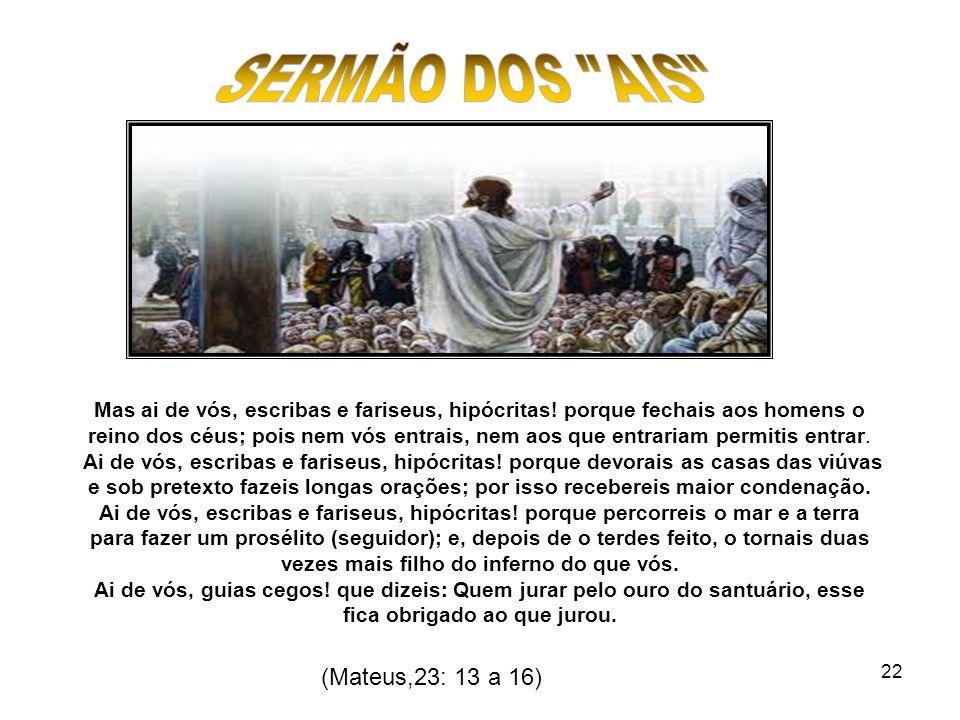 SERMÃO DOS AIS (Mateus,23: 13 a 16)