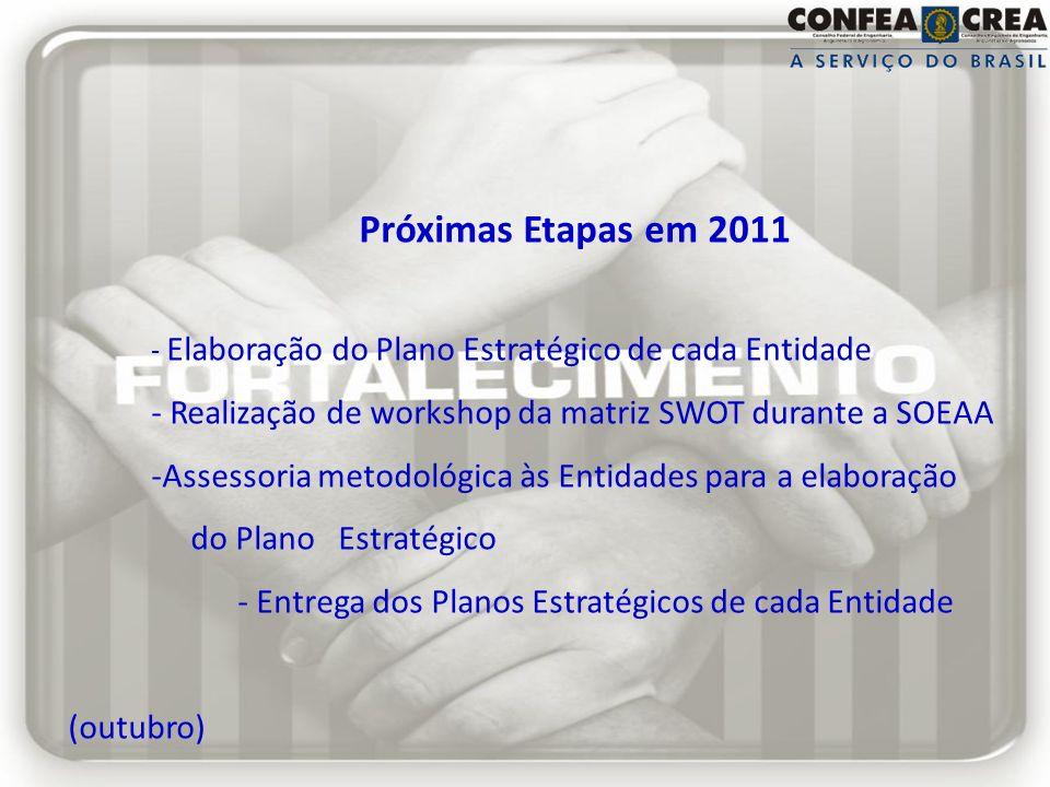 Próximas Etapas em 2011 - Elaboração do Plano Estratégico de cada Entidade. - Realização de workshop da matriz SWOT durante a SOEAA.