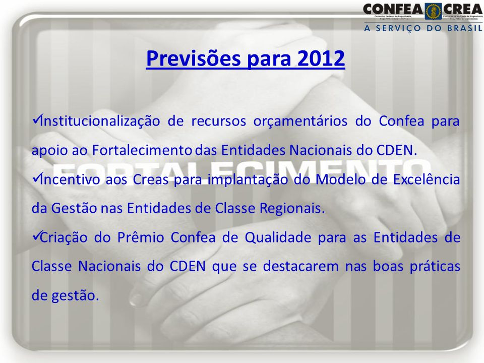 Previsões para 2012 Institucionalização de recursos orçamentários do Confea para apoio ao Fortalecimento das Entidades Nacionais do CDEN.