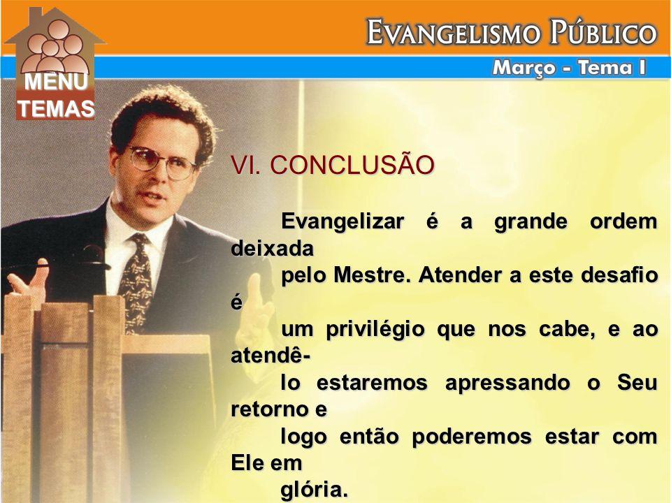 VI. CONCLUSÃO MENU TEMAS Evangelizar é a grande ordem deixada