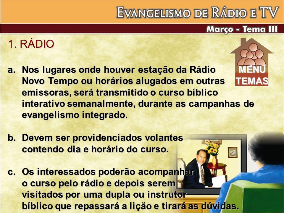 1. RÁDIO Nos lugares onde houver estação da Rádio