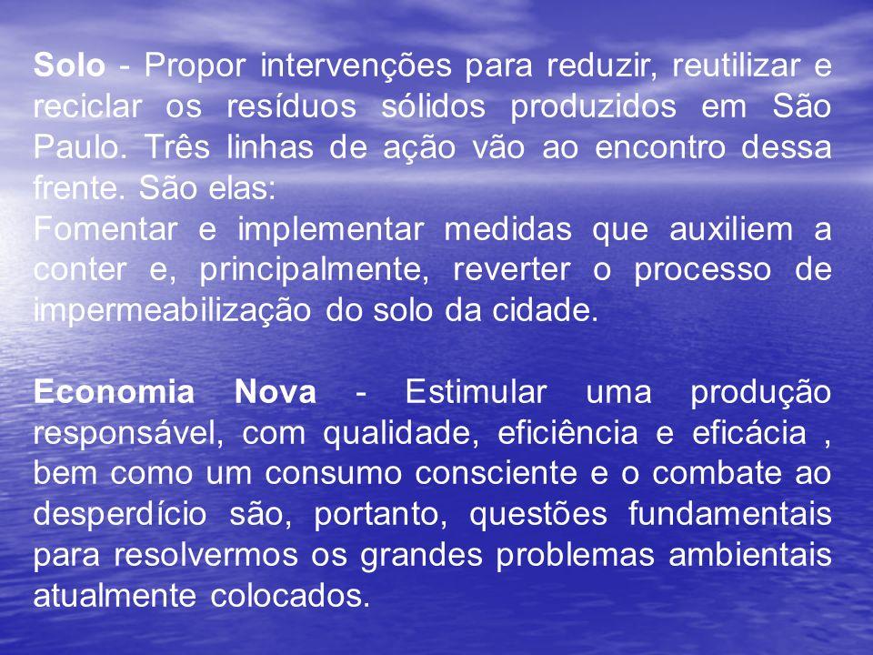 Solo - Propor intervenções para reduzir, reutilizar e reciclar os resíduos sólidos produzidos em São Paulo. Três linhas de ação vão ao encontro dessa frente. São elas: