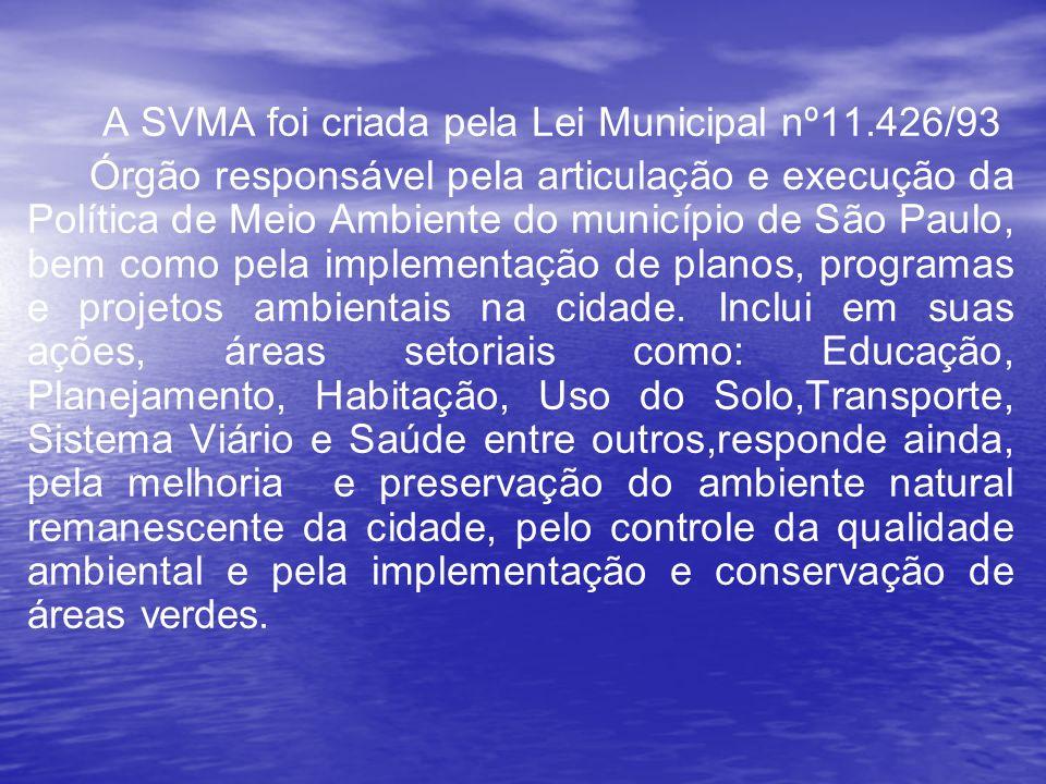 A SVMA foi criada pela Lei Municipal nº11.426/93