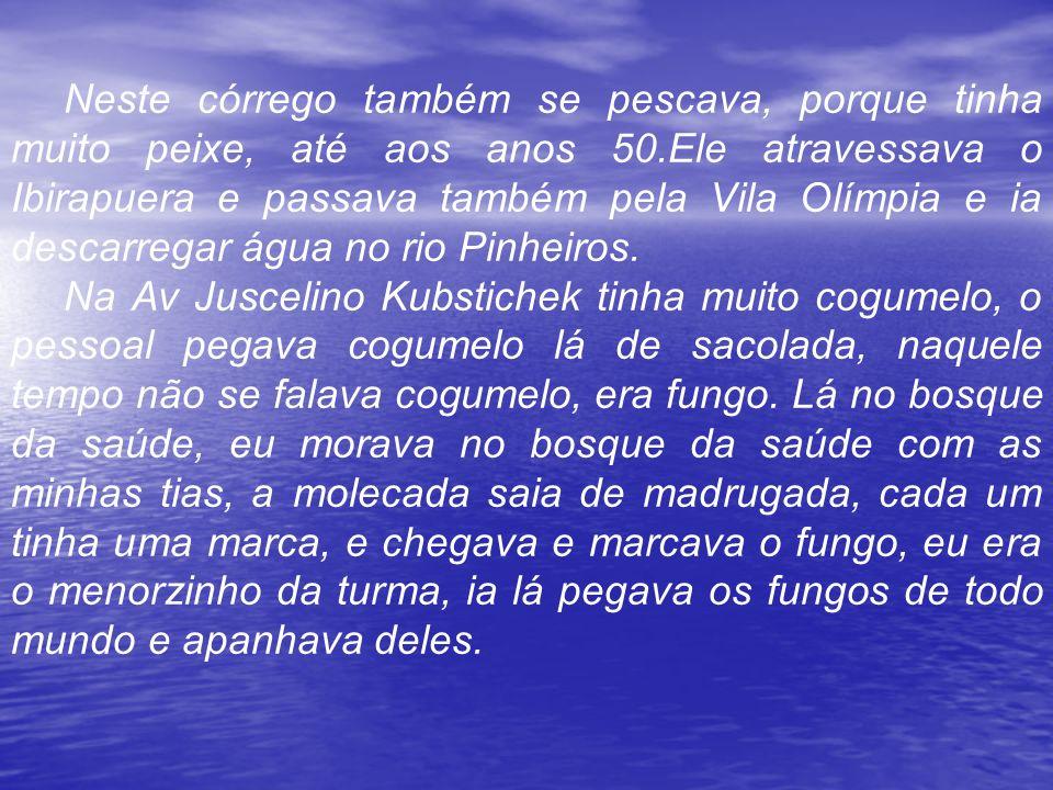 Neste córrego também se pescava, porque tinha muito peixe, até aos anos 50.Ele atravessava o Ibirapuera e passava também pela Vila Olímpia e ia descarregar água no rio Pinheiros.