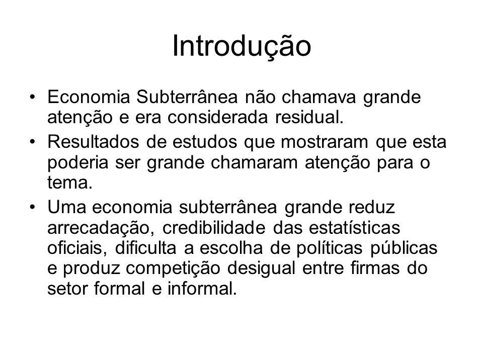 Introdução Economia Subterrânea não chamava grande atenção e era considerada residual.