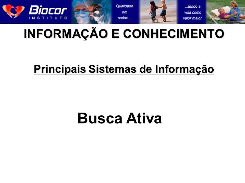 INFORMAÇÃO E CONHECIMENTO Principais Sistemas de Informação