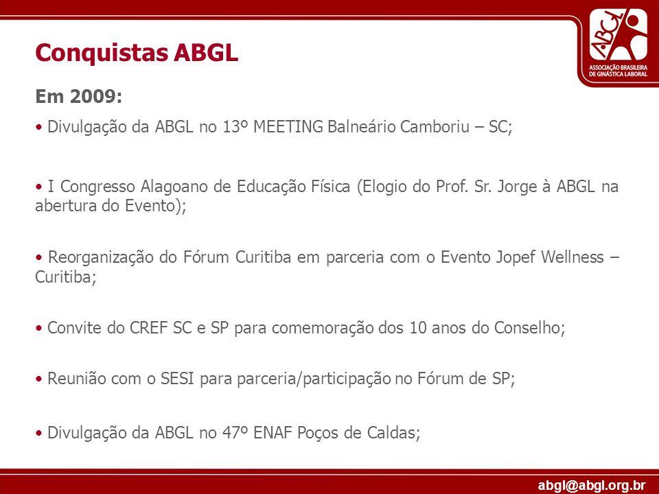 Conquistas ABGLEm 2009: Divulgação da ABGL no 13º MEETING Balneário Camboriu – SC;