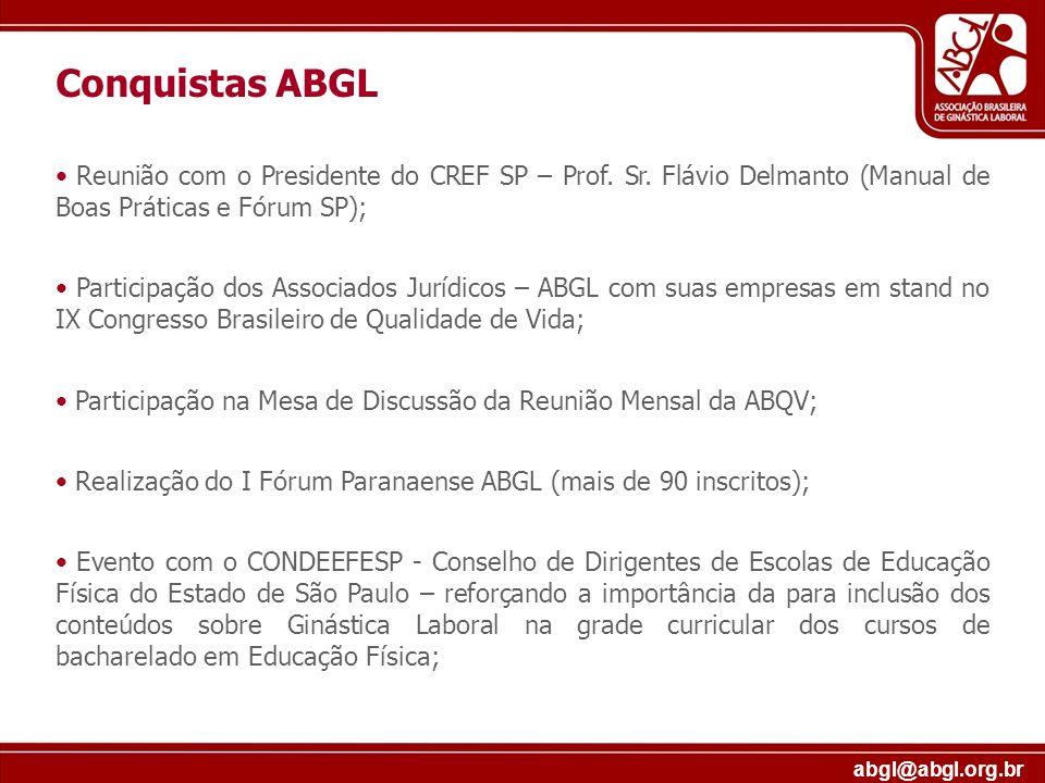 Conquistas ABGLReunião com o Presidente do CREF SP – Prof. Sr. Flávio Delmanto (Manual de Boas Práticas e Fórum SP);