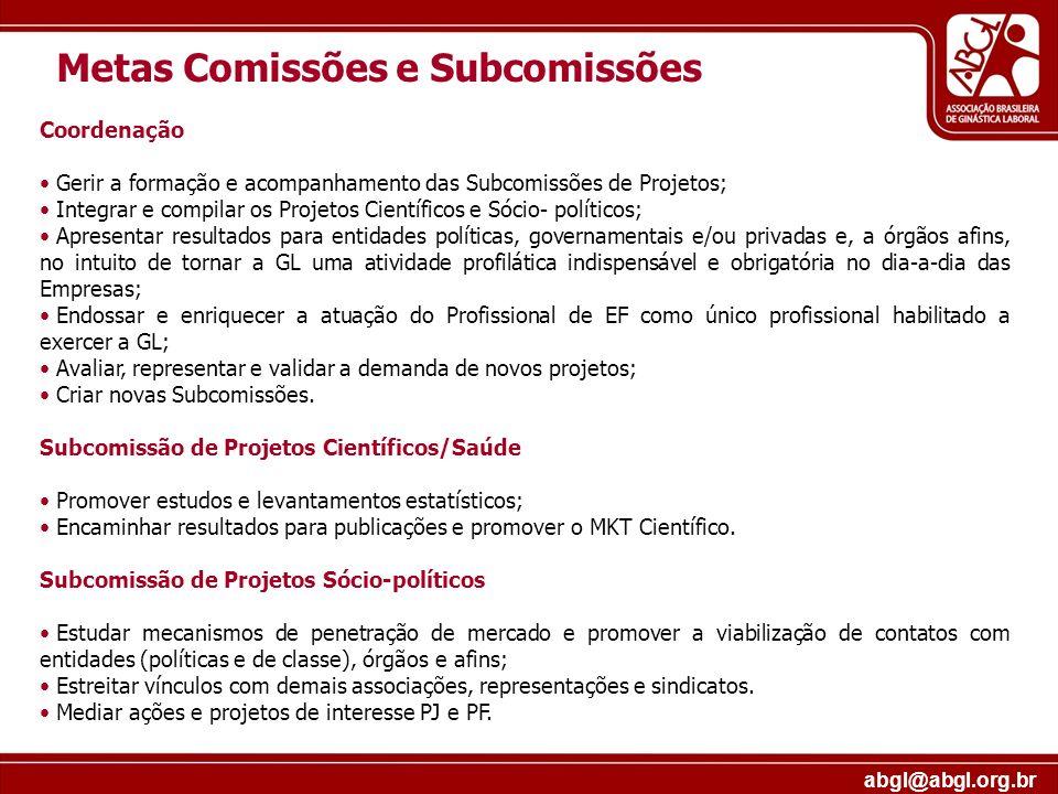 Metas Comissões e Subcomissões