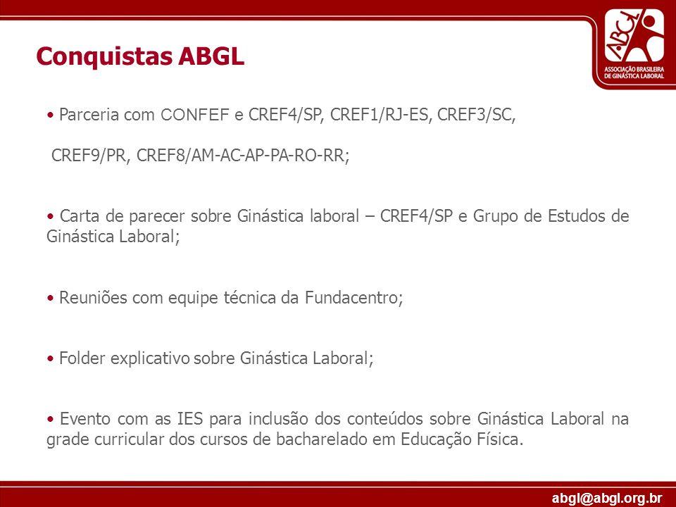 Conquistas ABGL Parceria com CONFEF e CREF4/SP, CREF1/RJ-ES, CREF3/SC,